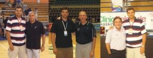Dan Ionescu alături de tehnicieni de renume, de la stânga la dreapta cu: Zaljko Obdradovic, Gregg Popovich și Pepu Hernandez
